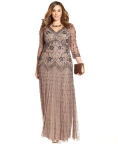 Pisarro Nights Plus Size Three-Quarter-Sleeve Beaded Gown - Dresses - Plus Sizes - Macy's