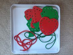 Cut shapes out of foam to use as lacing cards.