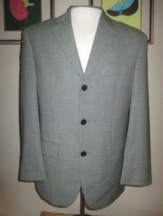 MISSONI 36S gray/green SMALL HERRINGBONE 3-Button virgin wool CLASSIC FIT BLAZER…
