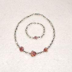 Lila / Silber Halskette und Armband für 18in Puppe von gramford101