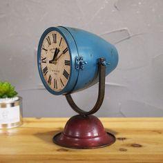 Vespa scooter headlight table clock, Vintage desk clock, Unique table clock,O. Ford Gt, Clock Vintage, Scooters Vespa, Cafe Display, Diy Clock, Clock Ideas, Wooden Camera, Side Tables Bedroom, Car Part Furniture