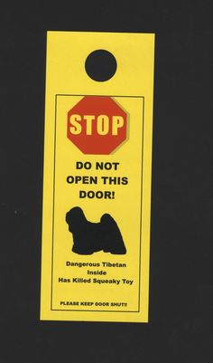 Dangerous Tibetan Terrier Inside Has Killed Squeaky Toy (Mine would say kills ALL squeaky toys!) by KnobNots, $5.00 on Etsy