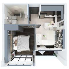 Type B - Kitchen - CITYGATE Phuket - Best condominium Kamala plan house small plan night plan zent Studio Apartment Floor Plans, Studio Apartment Layout, Small Apartment Design, Small Apartments, Small Spaces, Small Apartment Plans, Sims House Plans, House Layout Plans, Small House Plans