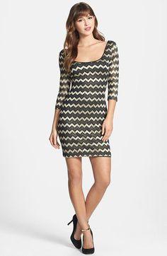 GUESS Metallic Stripe Lace Sheath Dress | Nordstrom