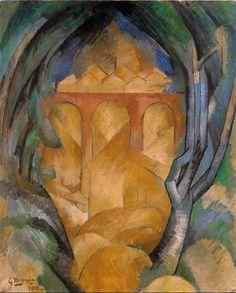 Georges Braque, 1908, Le Viaduc de L'Estaque (Viaduct at L'Estaque), oil on canvas, 73 x 60 cm, private collection.