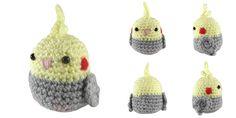i crochet things: Free Pattern Friday: Mini Cockatiel Amigurumi Quick Crochet, Cute Crochet, Crochet Crafts, Crochet Toys, Crochet Projects, Knitted Dolls, Crochet Bird Patterns, Crochet Birds, Crochet Patterns Amigurumi