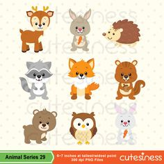 Woodland Animal Clipart Woodland Animal Digital por Cutesiness
