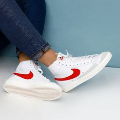 """b4eac28e517a5 Supplying Girls With Sneakers on Instagram  """"Spice up your shoe collection  with the Nike Blazer Mid  77 VNTG in  Habanero Red Sail White ."""