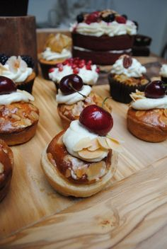 Cherry bakewell cakes from the Lilli Vanilli bakery - apparently she has a shop open in Columbia Road. Love the idea of British pudding flavoured cakes. Need rhubarb crumble cakes now!
