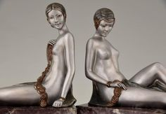 French Art Deco Bronze Nude Bookends by Scribe, 1930 9