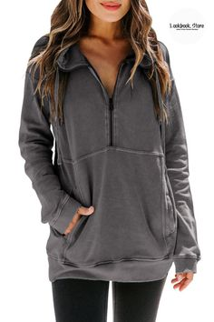 Winter Style // This knit active sweatshirt features zip up and drawstring hoodie design, regular fit with long sleeves, 2 functional side pockets, color block design and tie dye print to catch eyes. Activewear Sets, Collar Designs, Winter Outfits Women, Fall Sweaters, Zip Ups, Winter Fashion, Tie Dye, Pullover, Hoodie