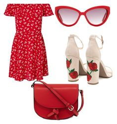 """""""so cool together👍👍👍 #RED"""" by vanessaboev ❤ liked on Polyvore featuring Miss Selfridge, Moschino and KC Jagger"""