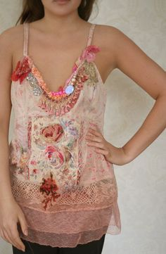 Thinking of Fragonard - romantic embroidered and beaded top, upcycled, dreamy delicate textile art collage by FleurBonheur