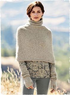 Plush alpaca (93%) and polyamide (7%) are knit then felted into a soft, snuggly cover-up for blustery days. Finished with a scrunchy funnel neck and rolled edges. Complete your wintry ensemble with the matching gloves and hat.
