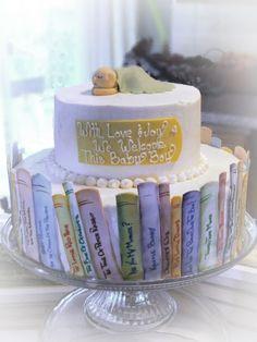 Storybook baby shower cake.