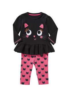Clothing at Tesco | F&F Kitten Long Sleeve Top and Leggings Set > sets > Baby Halloween > Halloween
