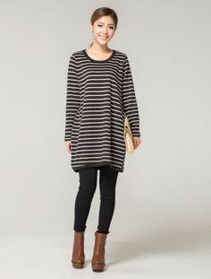Korean Fashion Loose Stripe Long Sleeve T-Shirt
