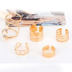 Golden Colored Adjustable Midi Rings (Set of 5 Rings)
