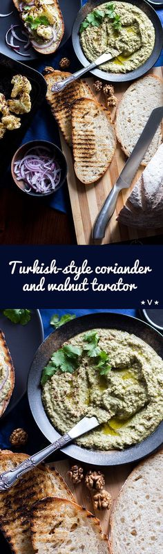 Turkish-style walnut tarator is a creamy vegan dip made with walnuts, garlic, herbs and day-old bread. via @quitegoodfood