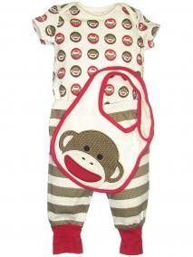 Baby Starters Boy 3Pc Bib Set - love sock monkey stuff!