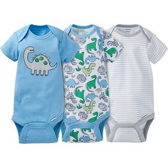 These Gerber Onesies® brand bodysuits are an easy way to keep your little boy looking cute while minimizing dressing time. Expandable neckline and higher-in-the-front snap closure make changing easy. This 3-pack easily mixes and matches to create a variety of outfits.