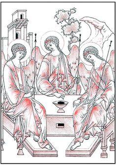Szentháromság ikon Religious Images, Religious Icons, Religious Art, Paint Icon, Russian Icons, Byzantine Icons, Cartoon Sketches, Catholic Art, Orthodox Icons