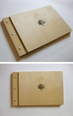Wood Wedding Album - 11 x 14 - white brass tree or woodburned monogram - eco wedding custom gift