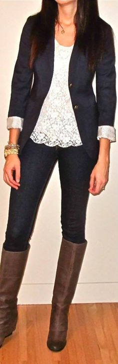 Good Transition Look With Needle Lace Shell And City Blazer From Cabi Spring14