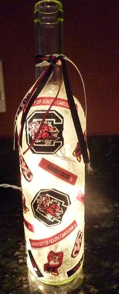 Handmade Lighted Wine Bottle w/ South Carolina by BottlesbyKaren, $20.00