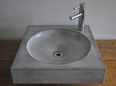 Bathroom in Decor & Housewares - Etsy Home & Living Concrete Sink, Concrete Molds, Concrete Bathroom, Concrete Furniture, Concrete Crafts, Concrete Projects, Concrete Countertops, Diy Furniture, Cement Art
