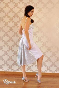 Robe de spectacle tango blanc et argent avec la par reinatango