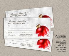 Christmas Gift Certificates | Printable Holiday Gift Cards | Personalized Rack Card Size Xmas Gift Vouchers With Red Ornament by iDesignStationery on Etsy