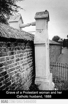 Nothing can separate love. Grave of a Protestant woman and her Catholic husband. 1888