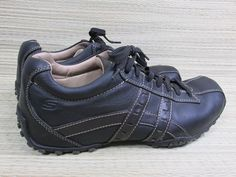 Skechers Black Leather Casual Oxford Athletic Sneaker Shoes Size 9 SN 60488 #Skechers #Oxfords