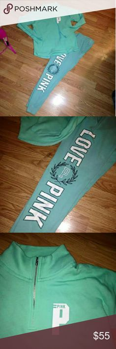 Vs PINK bundle half zip & joggers Half zip is not size small, joggers are in excellent condition size small. No trades PINK Victoria's Secret Pants