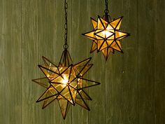 star-shaped lights have become a cottage classic, frequently hung on porch ceilings and inside or outside entryways. More sought after than ever, the form can now be found as flush-mount ceiling fixtures, semi-flush-mounts, and even as sconces. But it's hard to beat the 3-D beauty of the classic pendant.