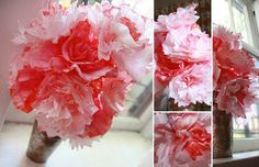 Aunt Peaches: Friday Flowers: Coffee Filter Bouquet (to use for painting the roses red activity) Cheap Flowers, Fake Flowers, Diy Flowers, Pretty Flowers, Flower Diy, Flower Ideas, Coffee Filter Roses, Coffee Filters, Aunt Peaches