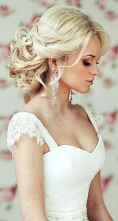 maybe wedding hair  style --could even have it half up half down like this.  I like the way its pulled back loosely--