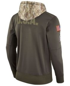 Nike Men's New England Patriots Salute To Service Therma Hoodie - Green 3XL