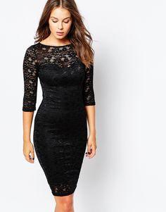 C m black lace dress petite