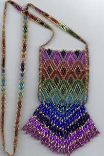 Seed Bead Amulet Bags Instructions   Amulet Bag Brick Stitch Seed Bead Super Fringed Bag Dark Blue Seed Bead Patterns, Peyote Patterns, Beading Patterns, Purse Patterns, Beaded Purses, Beaded Bags, Seed Bead Jewelry, Seed Beads, Beading Jewelry