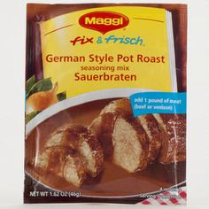 Maggi German Style Pot Roast Sauerbraten Mix, Pack: Maggi German Style Pot Roast Seasoning Mix Sauerbraten Pack Just add of meat for delicious pot roast Pot Roast Seasoning, Seasoning Mixes, Venison, Beef, Maggi Fix, Easy Pot Roast, Specialty Foods, Spices, Food And Drink