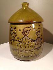 Beau Mid Century Modern Christmas Cookie Jar With Elves