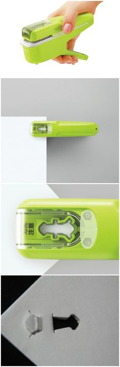 The Kokuyo Harinacs Stapleless Stapler binds paper together without staples, uses the wonder of Japanese Origami.