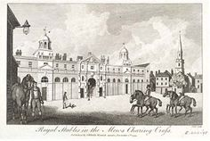 RoyalMews at Charing Cross. Until the early century is stood on the site now occupied by the National Gallery. Here ceremonial coaches and horses were housed. London Tube Map, Old London, Buckingham House, Royal Collection Trust, The Dorchester, Victorian London, European History, Arabian Nights, Vintage Pictures