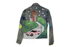 Crazy Blingy Flamingo Pink Cadillac DIY Dallas Tacky Ugly Denim Jacket $12