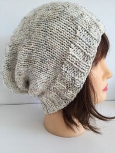 Cream Slouchy Beanie, Ivory Winter Hats, Unisex Knitted Hats, Hats for Teens, Long Slouchy Hat, Young Teen Beanies, Boy Girl Youth Hat, Gift by JCLeecollection on Etsy