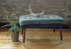 Mid Century Modern Footstool with African Mudcloth Fabric Bambara Bogolanfini Mud cloth MCM Foot Stool Ottoman Bench by territoryhardgoods on Etsy