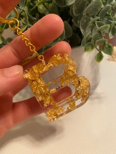 Square Resin Epoxy and Brass Pendant Necklace Antique Gold Initial Alphabet Letter