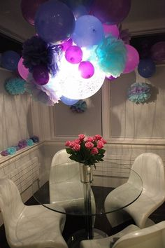 Beautiful Lighted Balloon Decoration but makes the room pretty dark